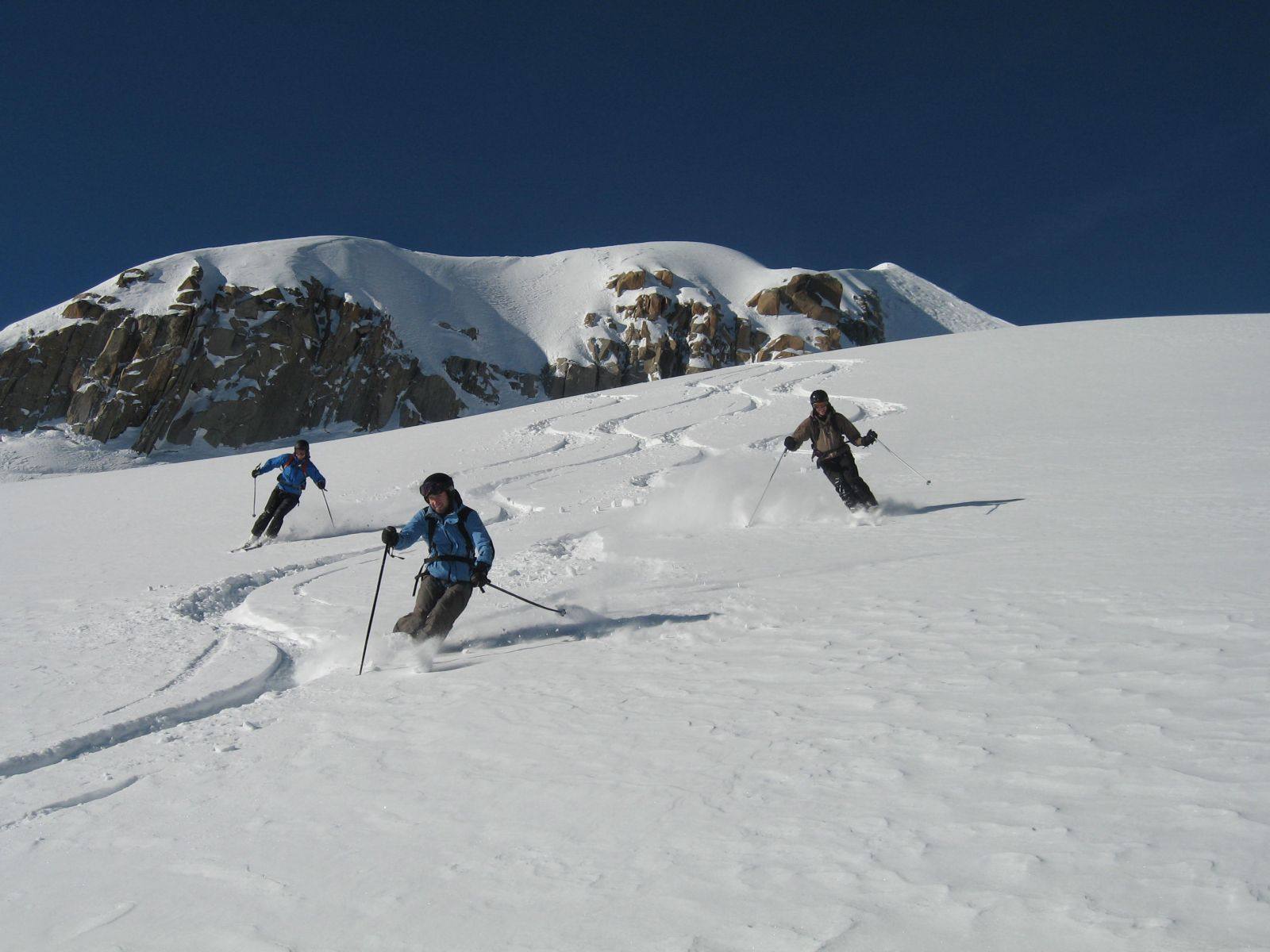 fresh tracks in Vallee Blanche